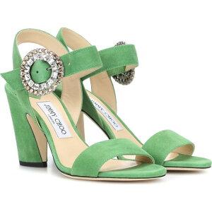 ジミー チュウ Jimmy Choo レディース サンダル・ミュール シューズ・靴【mischa 85 suede sandals】Lime/Crystal