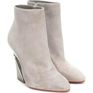 Christian Louboutin女士靴子短靴子鞋子/鞋子[Leviti短靴100绒面革及踝靴]烟熏/镍