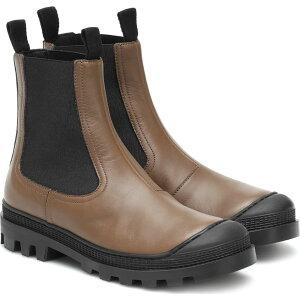 罗意威(Loewe)女靴切尔西靴鞋/鞋[皮革切尔西靴]卡赫基·格林