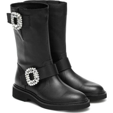 ロジェ ヴィヴィエ Roger Vivier レディース ブーツ ショートブーツ シューズ・靴【viv' strass leather ankle boots】Nero