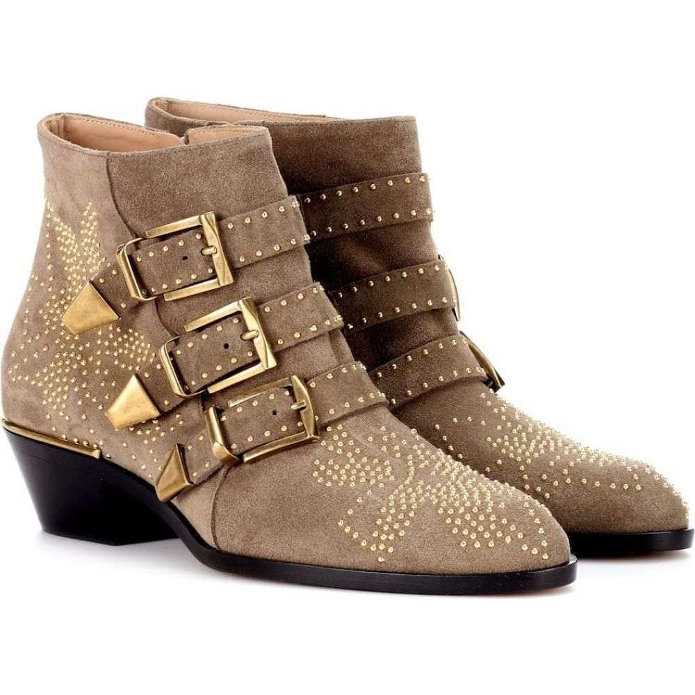 クロエ Chloe レディース ブーツ ショートブーツ シューズ・靴【susanna studded suede ankle boots】Dark Greige