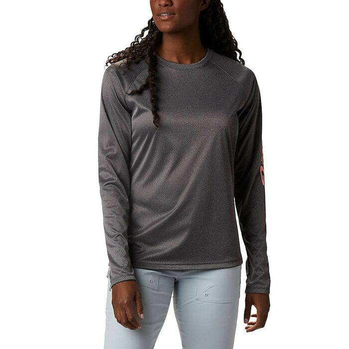 コロンビア Columbia レディース ハイキング・登山 シャツ 長袖Tシャツ トップス【Tidal Tee Heather LS Shirt】Black Heather/Tiki Pink Logo