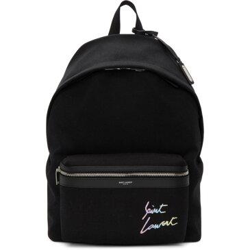 イヴ サンローラン Saint Laurent メンズ バッグ バックパック・リュック【Black Canvas Embroidered City Backpack】