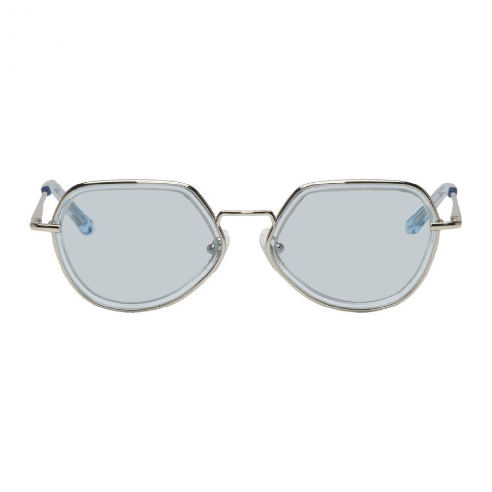 ドリス ヴァン ノッテン Dries Van Noten レディース メガネ・サングラス【Blue & Silver Linda Farrow Edition Almond Sunglasses】