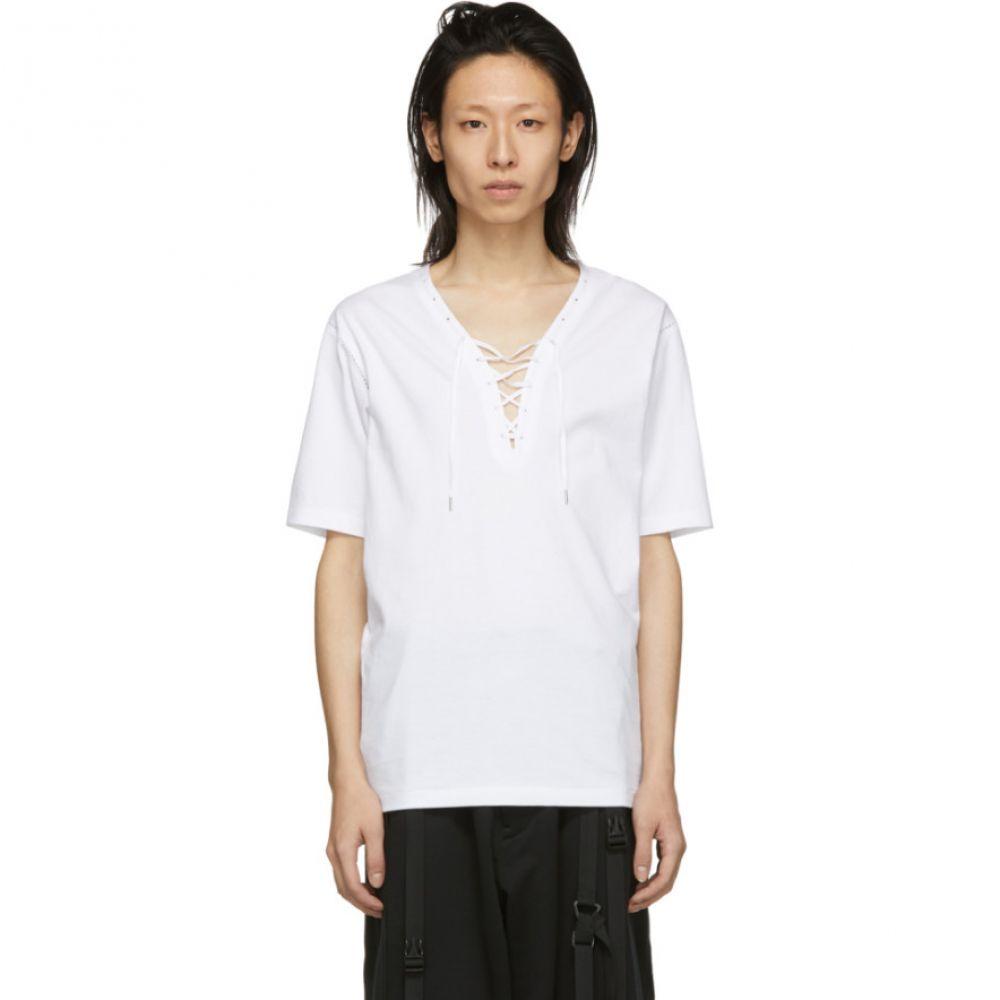 コウザブロウ Kozaburo メンズ トップス Tシャツ【White Assa Lace-Up T-Shirt】