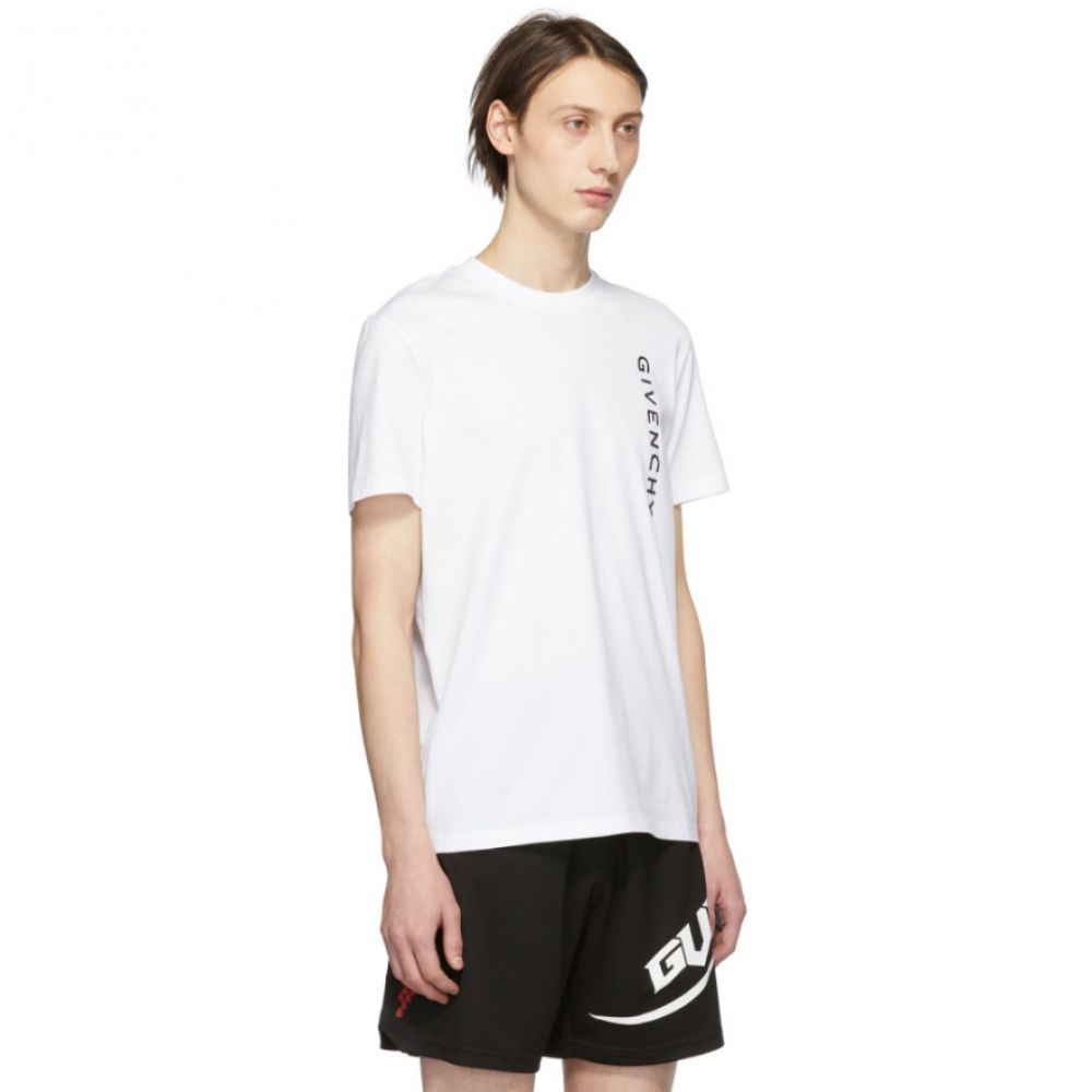 ジバンシー Givenchy メンズ トップス Tシャツ【White Vertical Logo Slim-Fit T-Shirt】