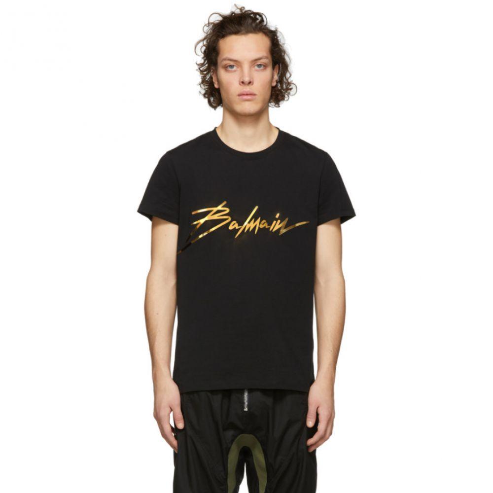 バルマン Balmain メンズ トップス Tシャツ【Black Metallic Signature Logo T-Shirt】