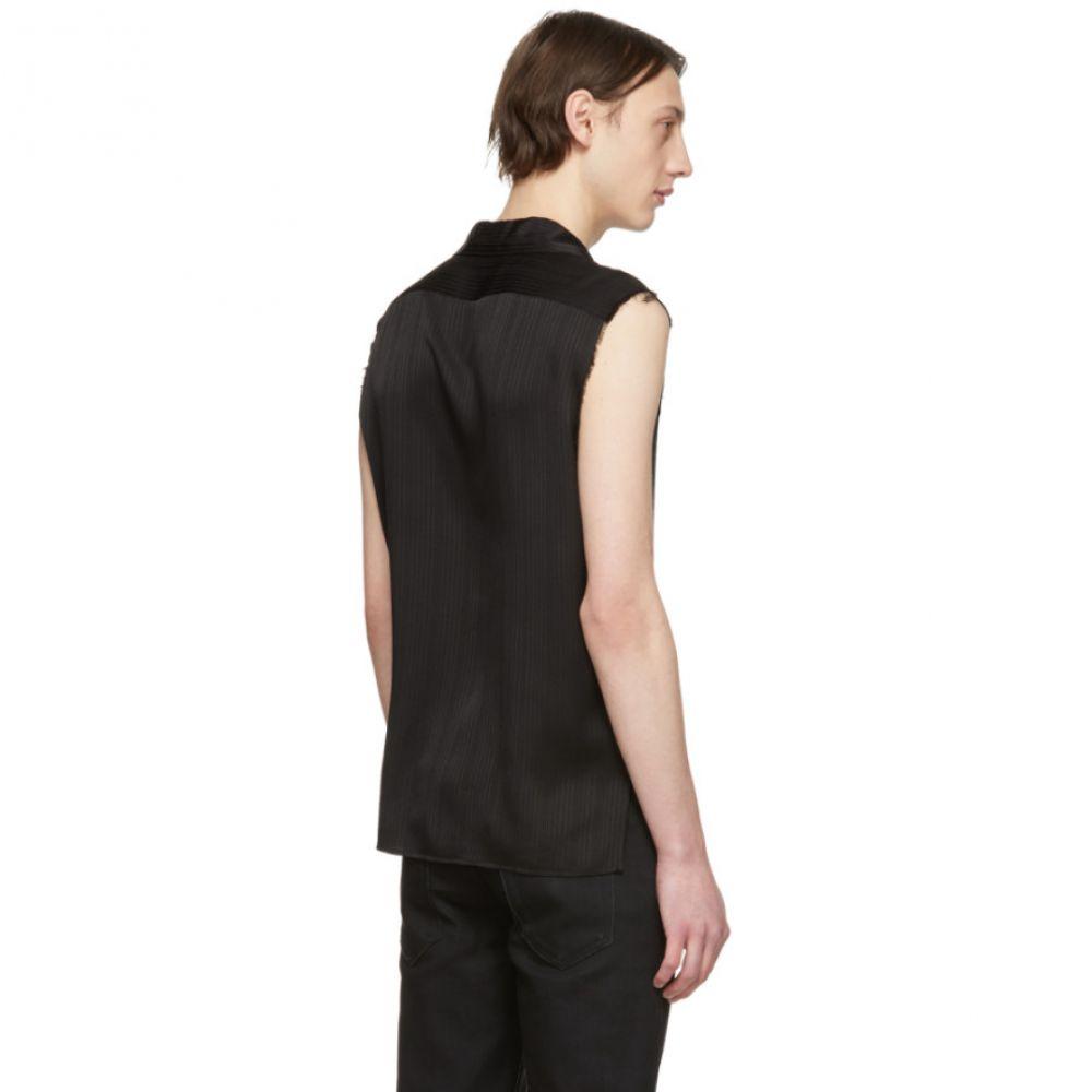 イヴ サンローラン Saint Laurent メンズ トップス ノースリーブ【Black Silk Stripe Sleeveless Shirt】