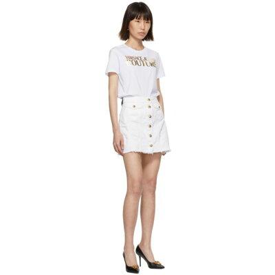 ヴェルサーチVersaceJeansCoutureレディーススカートミニスカート【WhiteDenimDemoMiniskirt】White