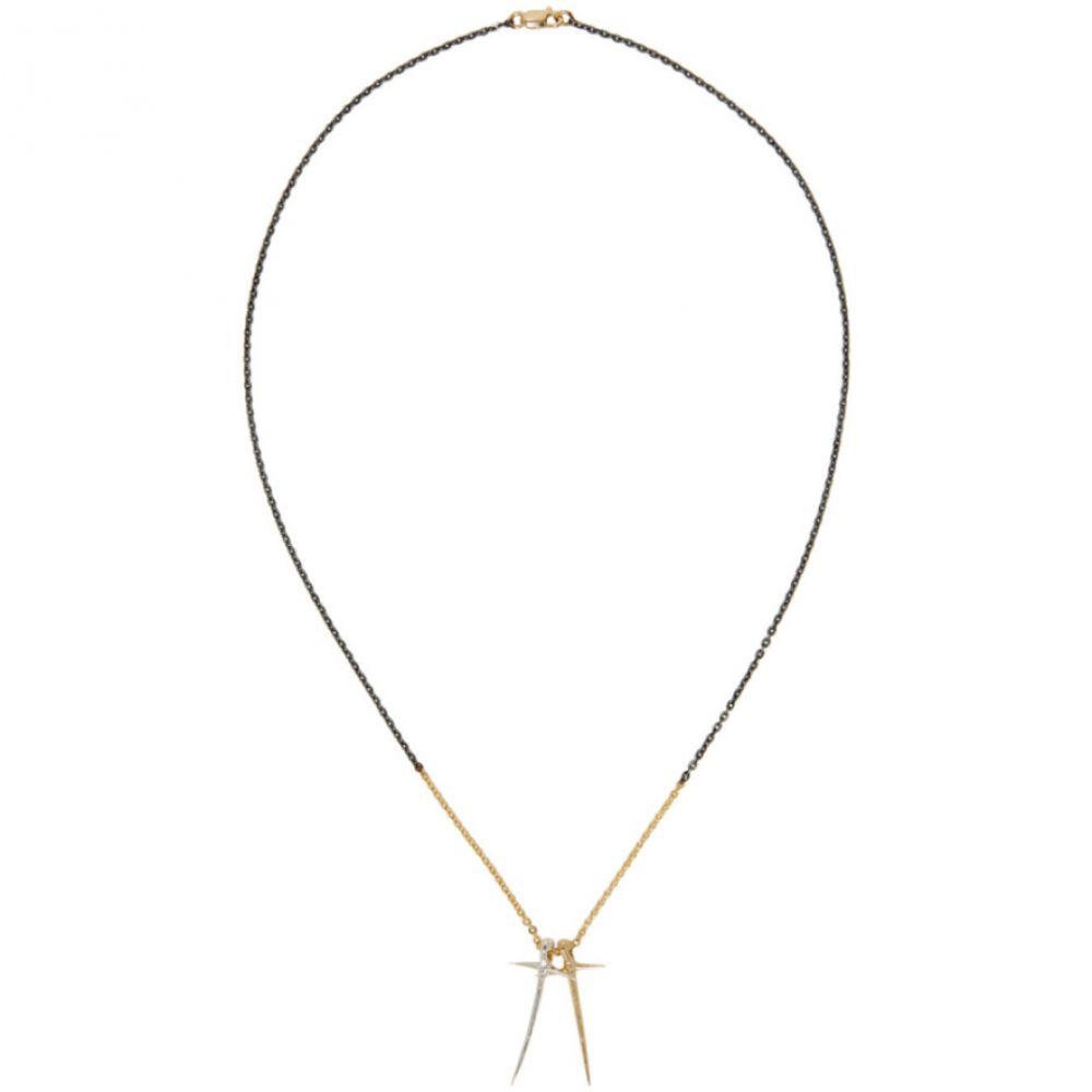 パールズ ビフォア スワイン Pearls Before Swine メンズ ジュエリー・アクセサリー ネックレス【Silver & Gold Two-Tone Double Thorn Cross Necklace】