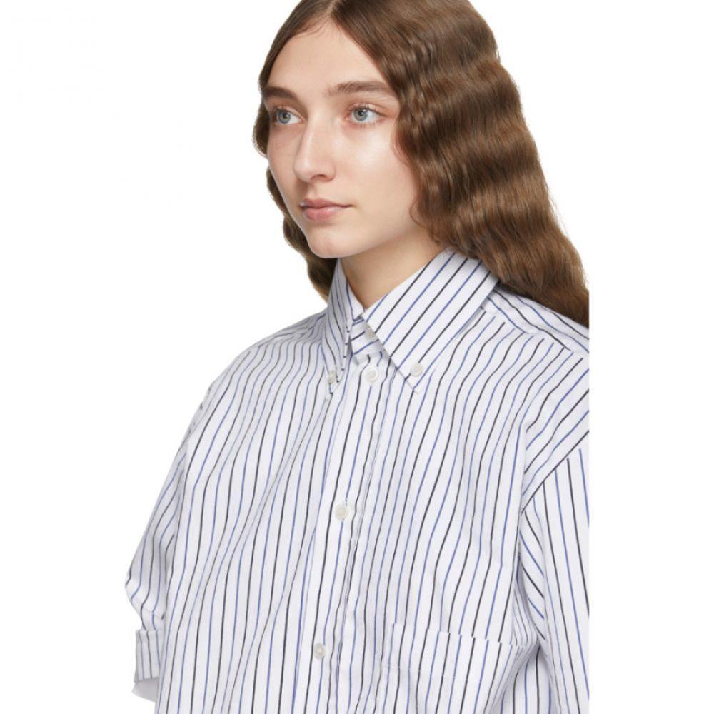プラン C Plan C レディース ブラウス・シャツ トップス【Blue & White Striped Shirt】
