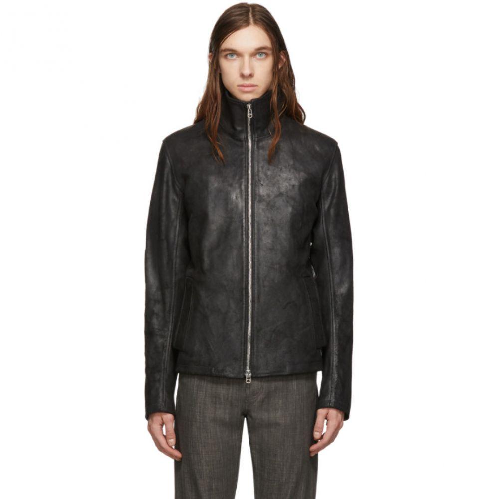 メンズファッション, コート・ジャケット  Deepti Black Leather Membrane Sleeve JacketBlack