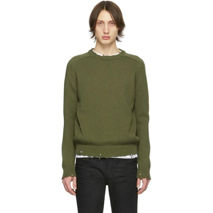 イヴ サンローラン Saint Laurent メンズ ニット・セーター トップス【Khaki Destroyed Knit Sweater】Khaki
