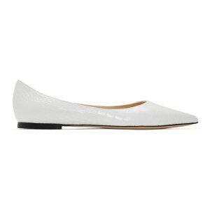 Jimmy Choo Ladies 슬립 온 플랫 슈즈 / 신발 [White Croc Love Flat] 라떼