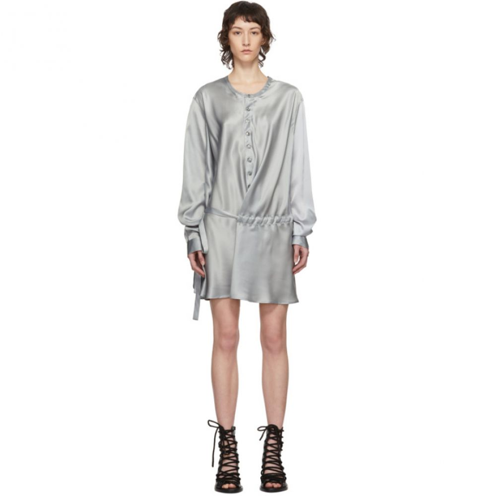 レディースファッション, ワンピース  Ann Demeulemeester SSENSE Exclusive Grey Silk Belted Shirt DressCiel