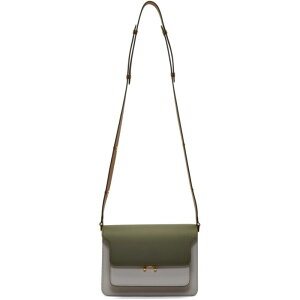 Marni Marni Ladies Shoulder Bag [Green & Gray Medium Trunk Bag] Emerald/Pelican/Gold brown