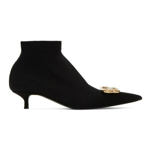 Balenciaga Women's Boots Booties Shoes/Shoes [Black Jersey Knife Logo Booties] Black