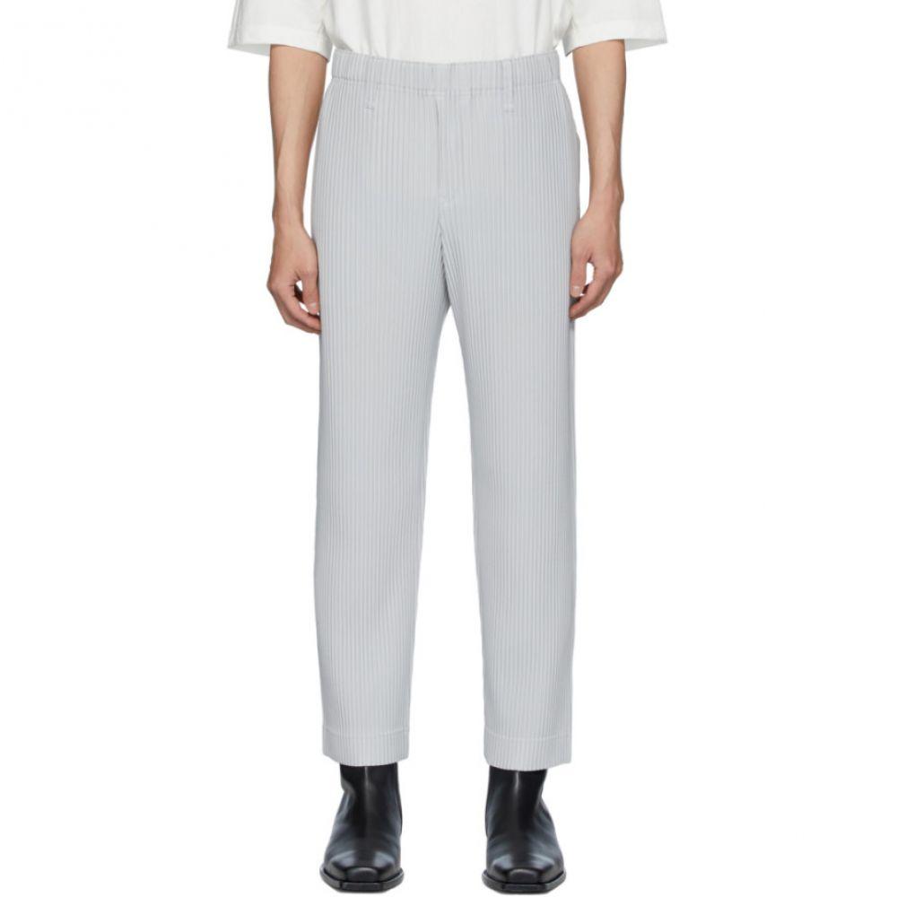 メンズファッション, ズボン・パンツ  Homme Plisse Issey Miyake Grey Basics TrousersLight grey