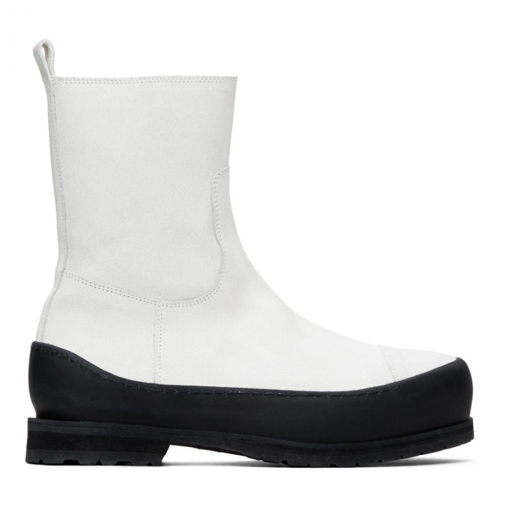 ブーツ, その他  Ann Demeulemeester White Greased Suede Zip-Up BootsWhite