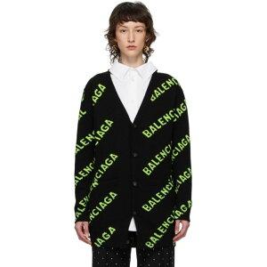 バレンシアガ Balenciaga レディース カーディガン トップス【Black & Green All Over Logo Cardigan】Black/Green