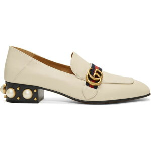 Gucci Women's Loafers/Oxford Shoes/Shoes [White Peyton Pearl Loafer Heels] White