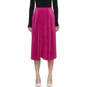 Balenciaga Women's Knee Length Skirt Skirt [Pink Pleated Kick Skirt] Fuchsia