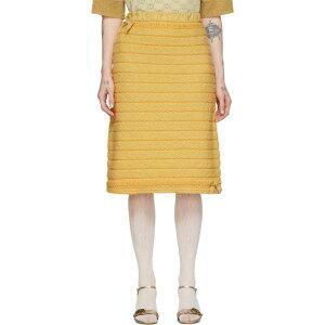 グッチ Gucci レディース ひざ丈スカート スカート【Yellow Wool Bow & Fringes Skirt】Yellow