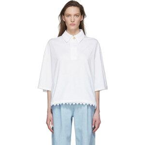 罗意威(Loewe)女士Polo衫上衣[White Lace Trim Polo]白色