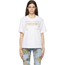 ヴェルサーチ Versace Jeans Couture レディース Tシャツ トップス【White & Gold Logo T-Shirt】Bianco/Gold