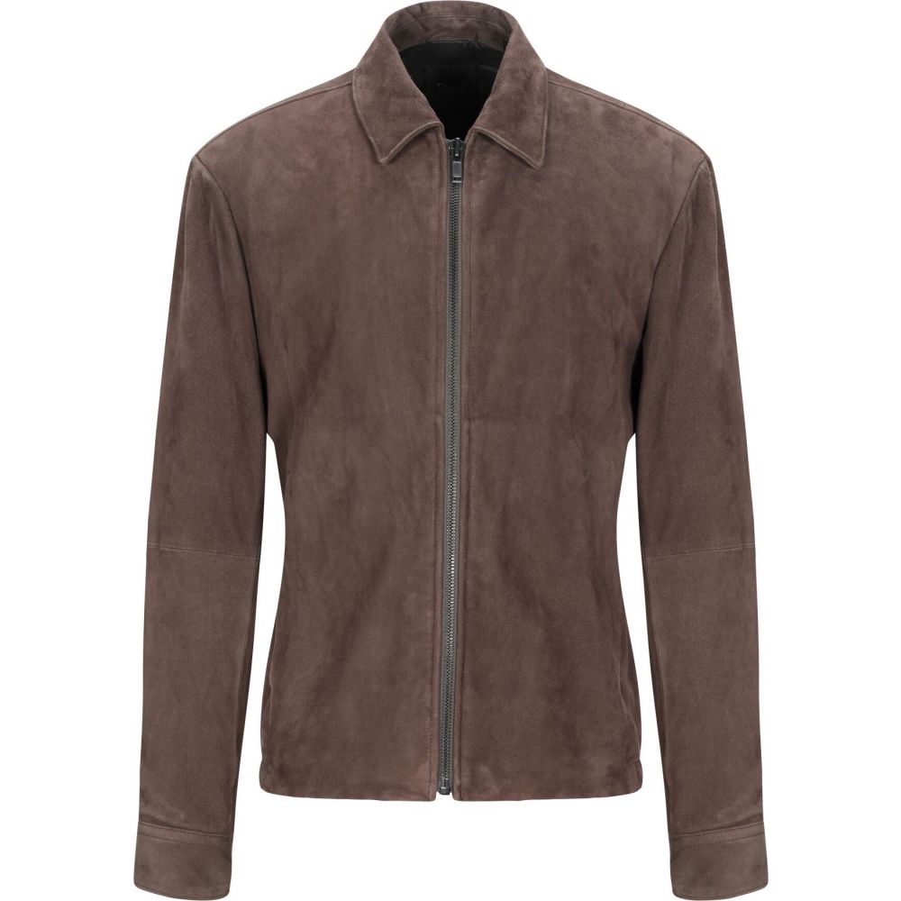 セオリー THEORY メンズ レザージャケット アウター【leather jacket】Dark brown