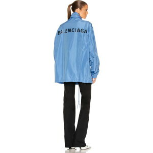 Balenciaga Women's Jacket Windbreaker Outerwear [logo windbreaker jacket] Sky Blue