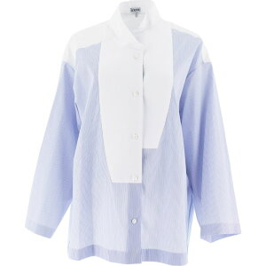 Loewe女士上衣衬衫上衣[带嵌条条纹衬衫]浅蓝色