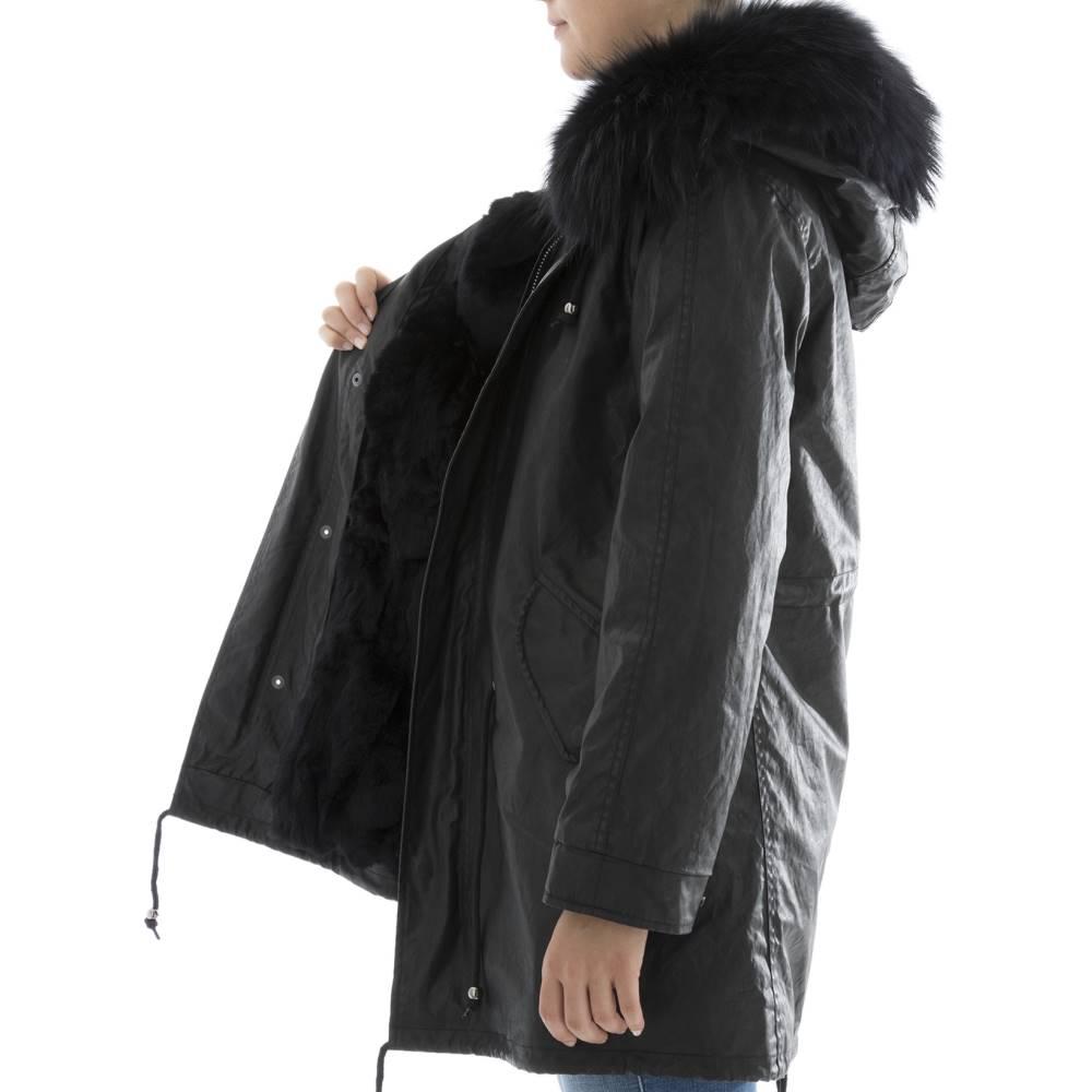 スワード レディース アウター レザージャケット【Black leather parka】Black