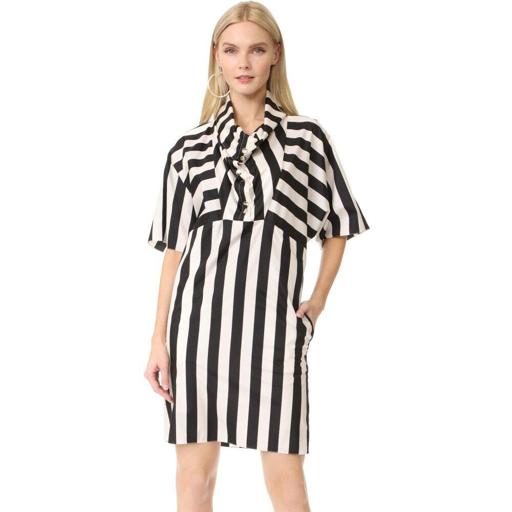 ニナリッチ Nina Ricci レディース トップス ワンピース【Striped Cowl Neck Dress】Ecru/Black:フェルマート