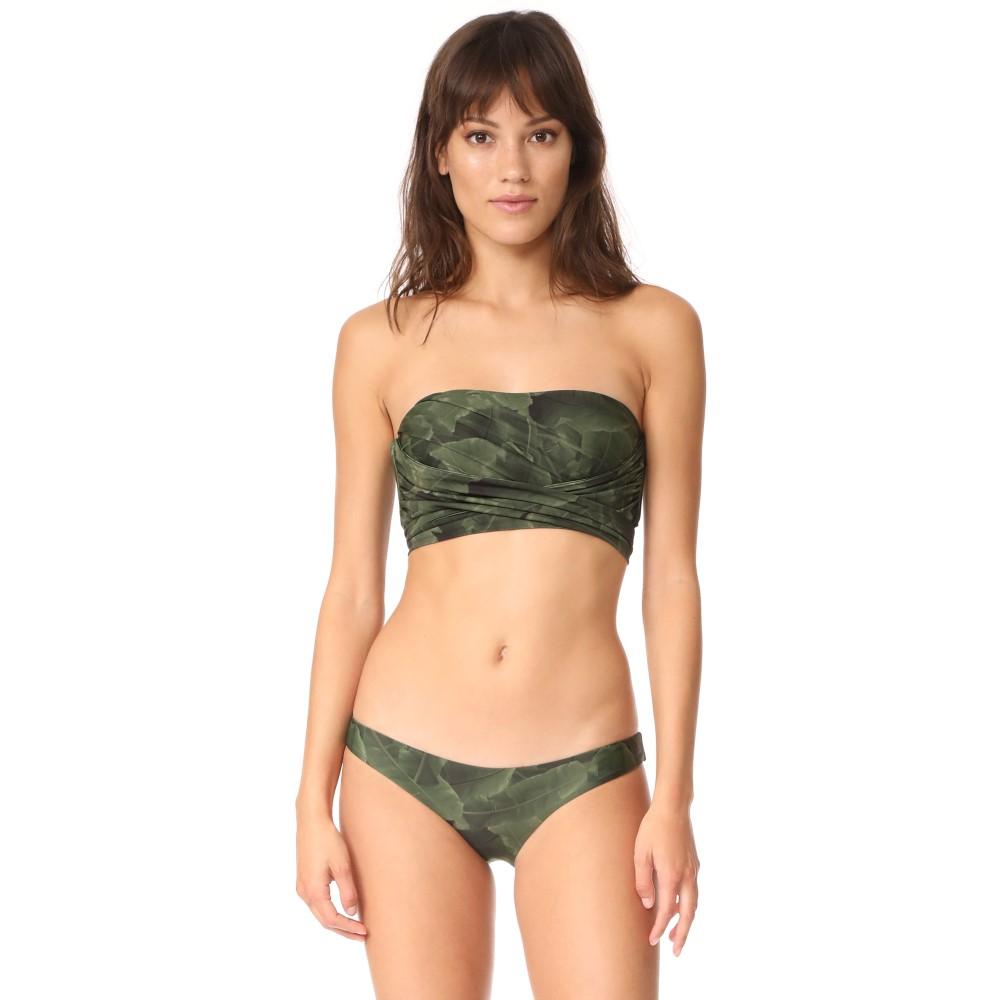 バハイースト Baja East レディース 水着 トップのみ【Wrap Bandeau Bikini Top】Palm Print:フェルマート