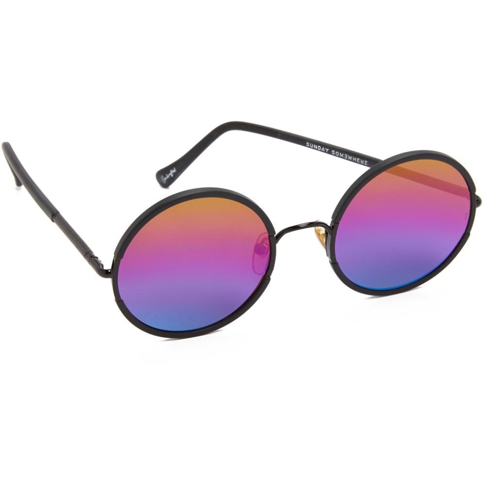サンデイサムウェア Sunday Somewhere レディース アクセサリー メガネ・サングラス【Yetti Sunglasses】Black/Rainbow:フェルマート