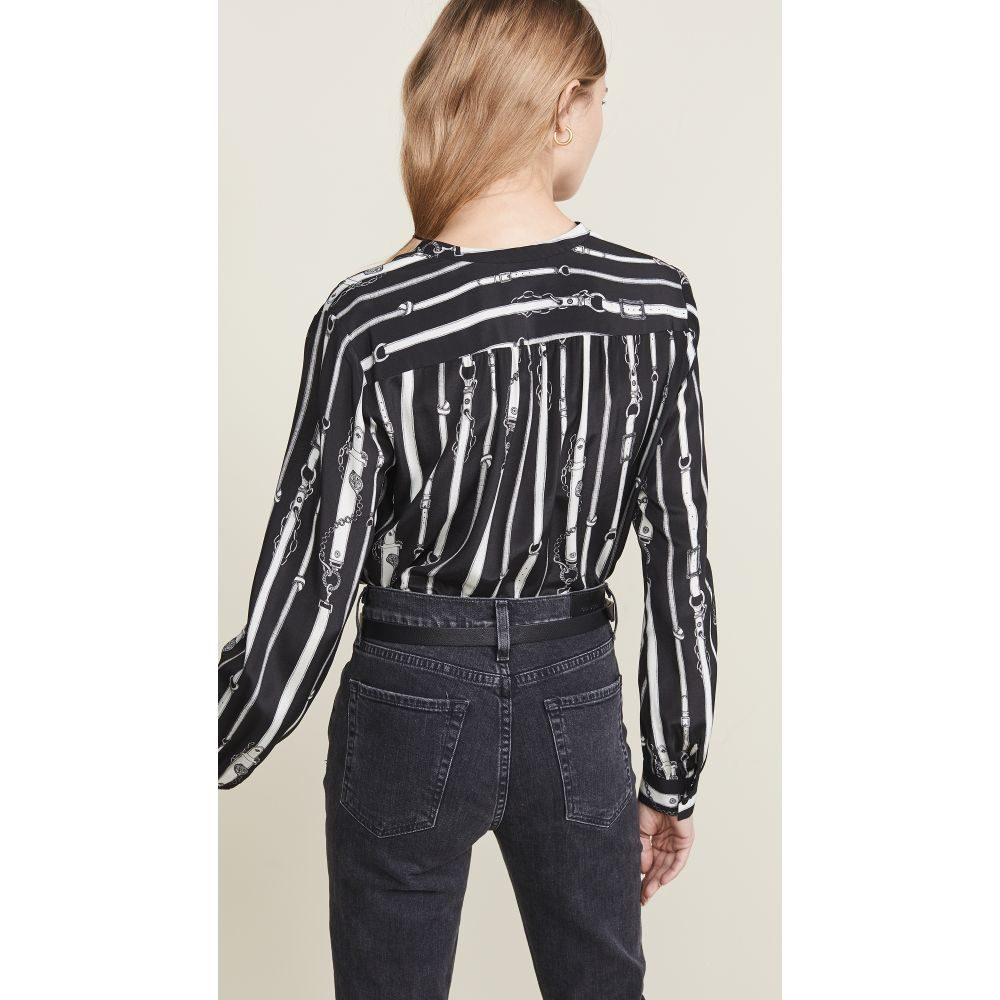 ラジャンス L'AGENCE レディース トップス ブラウス・シャツ【Bardot Band Collar Blouse】Belt Print (Black Multi)