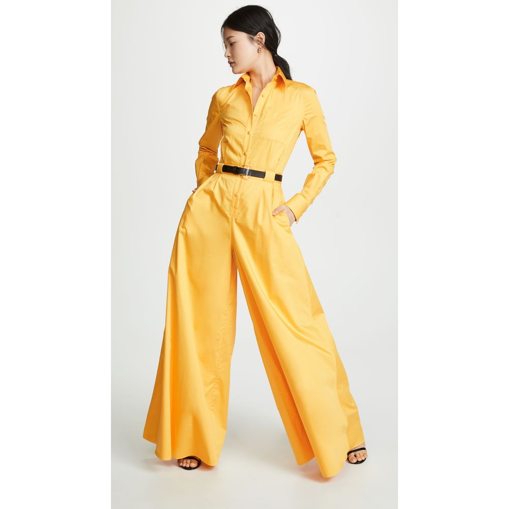 ブランドン マクスウェル Brandon Maxwell レディース ワンピース・ドレス オールインワン【Poplin Wide Leg Button Down Jumpsuit】Marigold