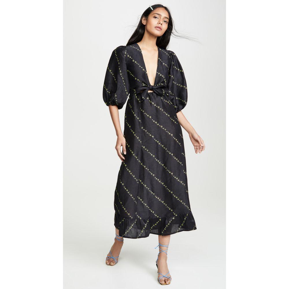 ガニー GANNI レディース ワンピース・ドレス ワンピース【Silk Linen Dress】Black