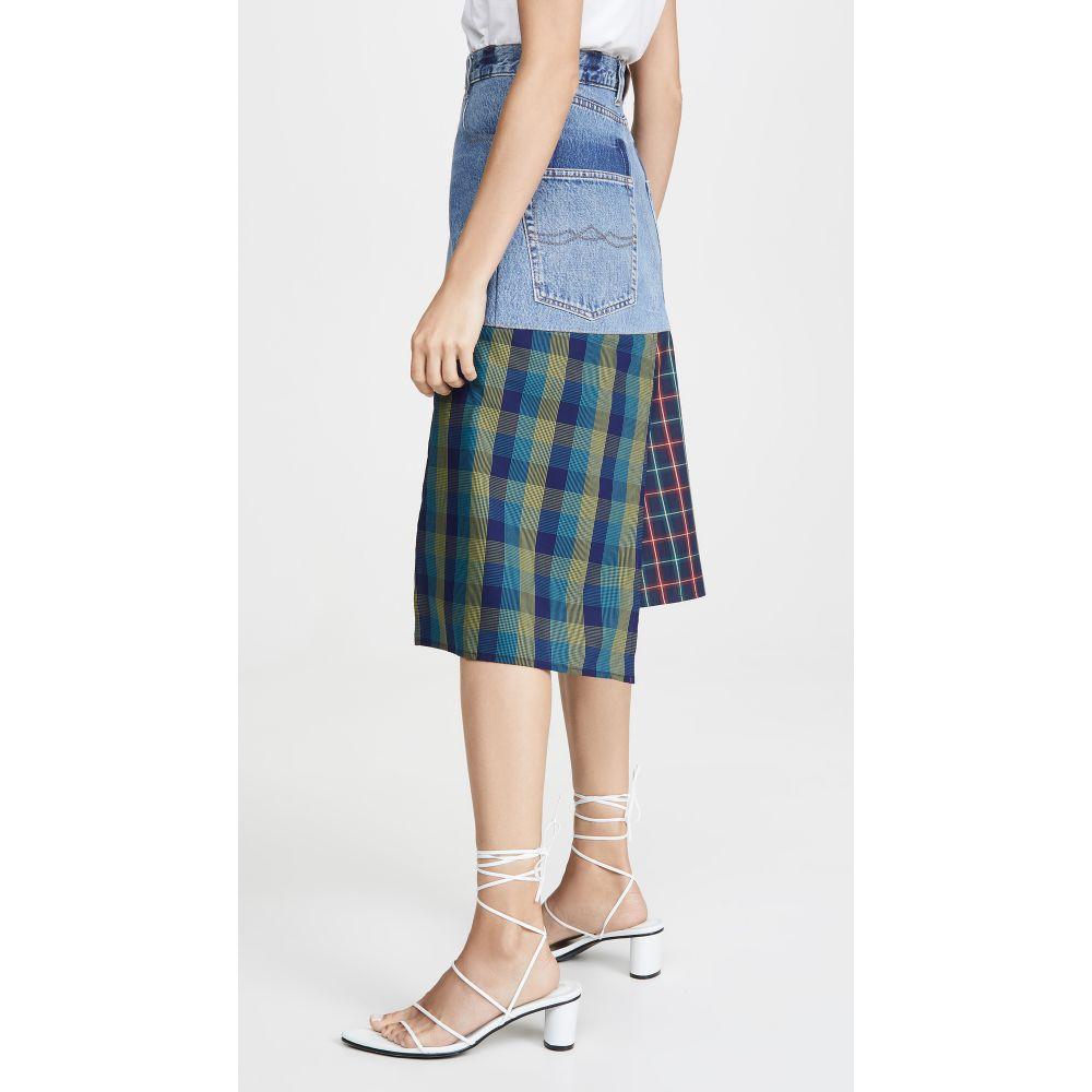 クセニア シュナイダー Ksenia Schnaider レディース スカート【Denim Skirt with a Cotton Panels】Blue/Mixed Color