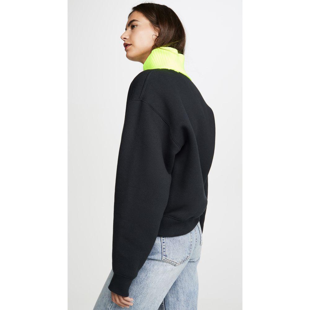 アレキサンダー ワン alexanderwang.t レディース トップス フリース【Dense Fleece Sweatshirt】Black/Neon Yellow