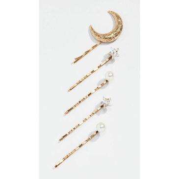 ジェニファーベア Jennifer Behr レディース ヘアアクセサリー ヘアピン【Oberon Bobby Pin Set of 5】Crystal/Antique Gold