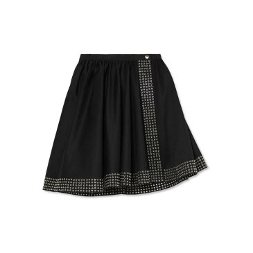 アライア レディース スカート ミニスカート【Asymmetric eyelet-embellished cotton-gabardine mini skirt】