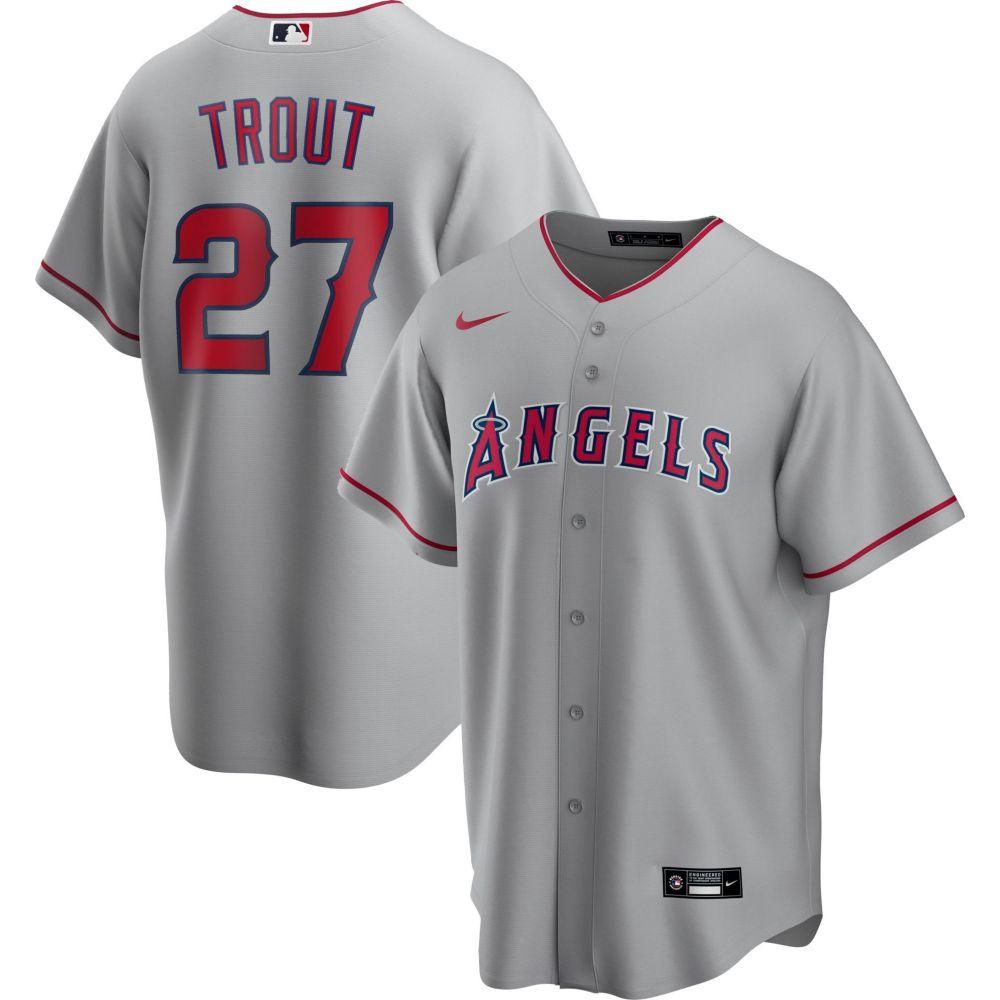 メンズファッション, その他  Nike Replica Los Angeles Angels Mike Trout 27 Grey Cool Base Jersey
