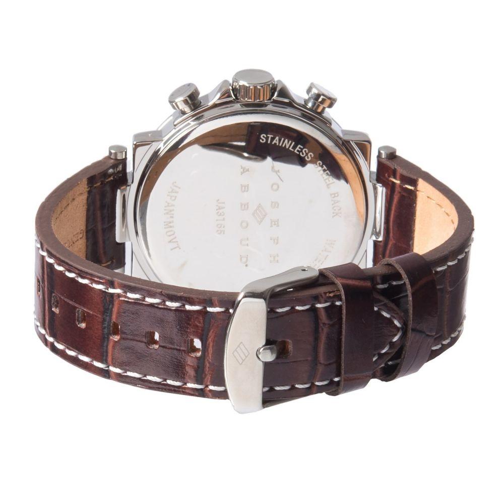 ジョゼフ Joseph Abboud メンズ 腕時計【Silver Dial Chronograph Watch - Leather Strap】Brown/Silver