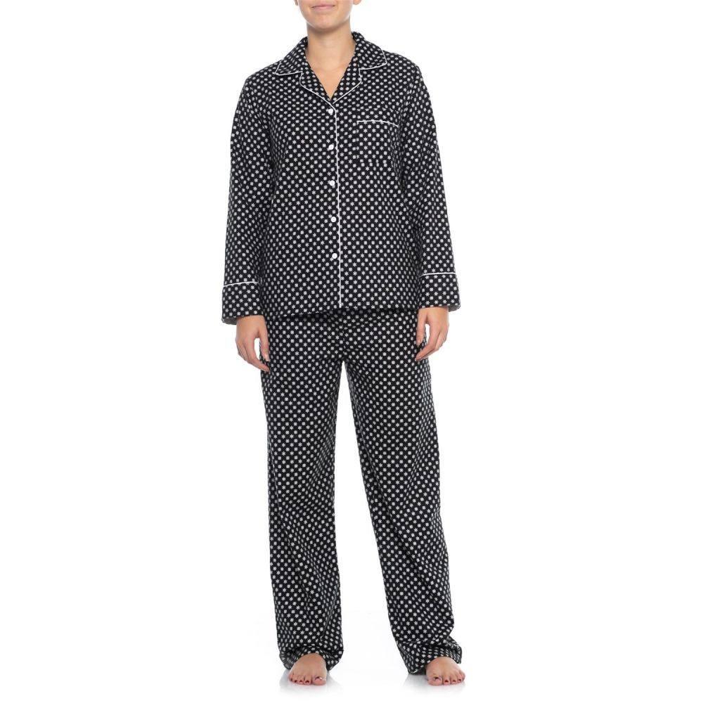 ナイトウェア・ルームウェア, パジャマ  KayAnna Printed Flannel Pajamas - Long SleeveBlack Snowflake