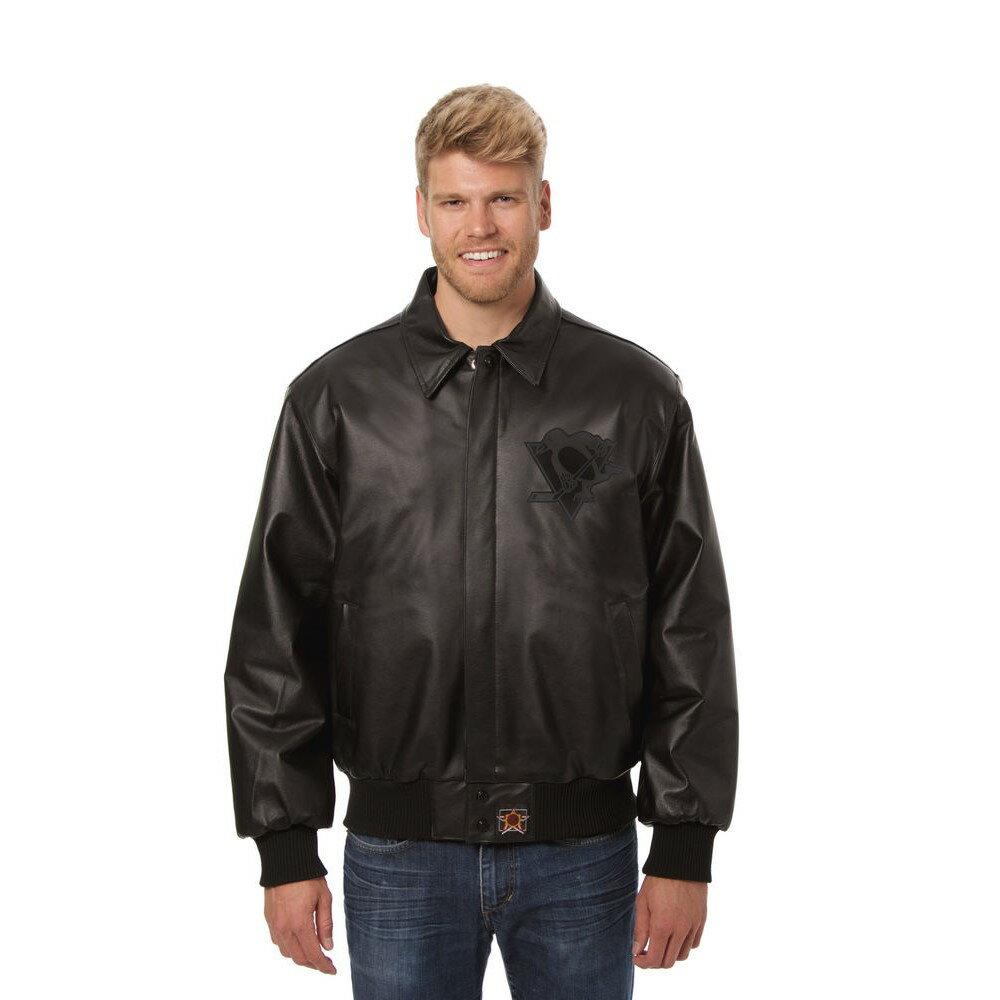 JH デザイン JH Design メンズ アウター レザージャケット【Pittsburgh Penguins Adult Leather Jacket】Black/Black