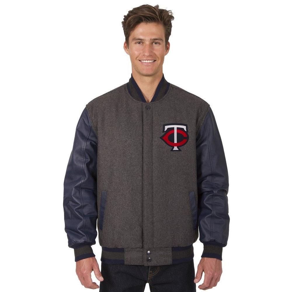 JH デザイン JH Design メンズ アウター レザージャケット【Minnesota Twins Adult Wool and Leather Reversible Jacket】Grey/Navy