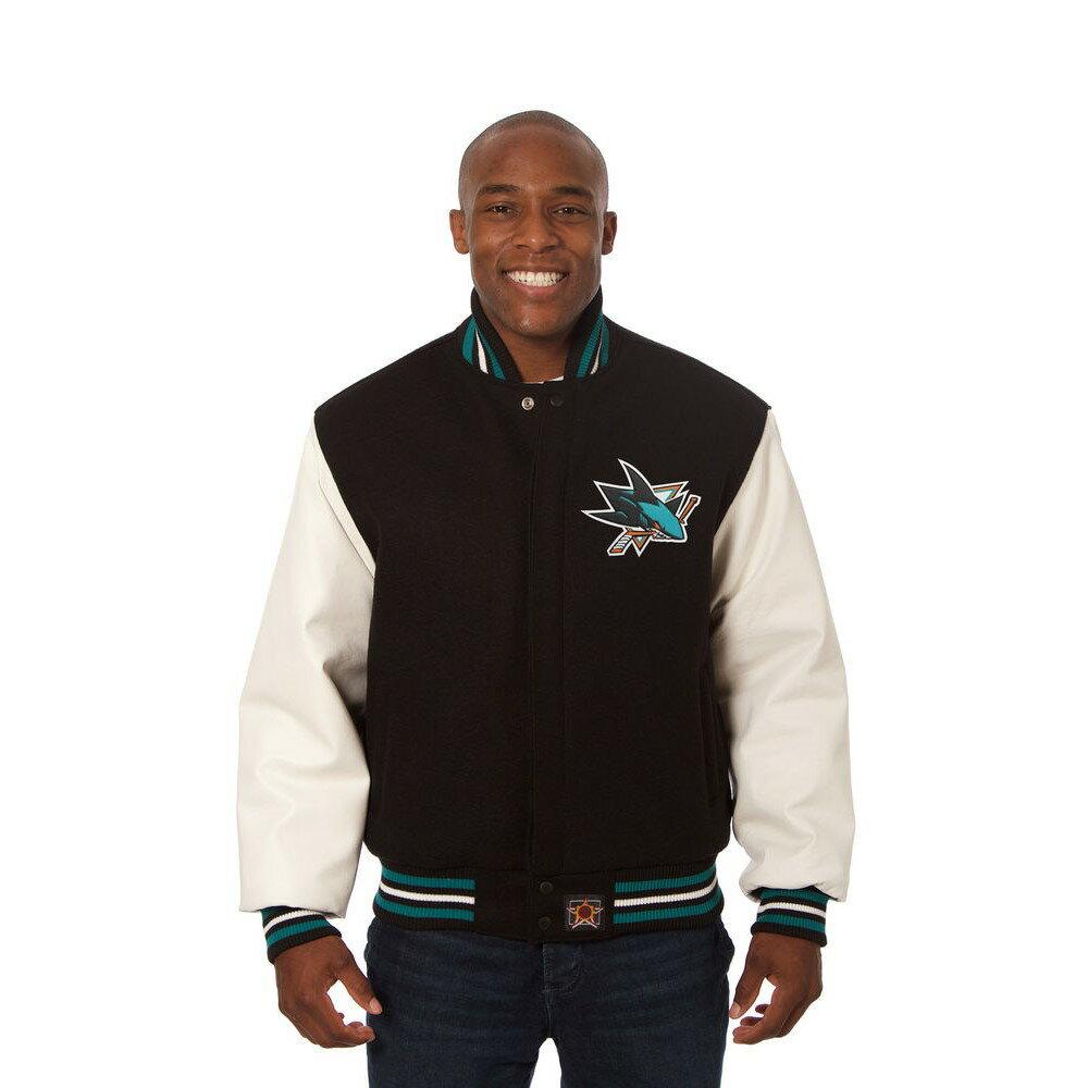 JH デザイン JH Design メンズ アウター レザージャケット【San Jose Sharks Adult Wool Leather Jacket】Black/White