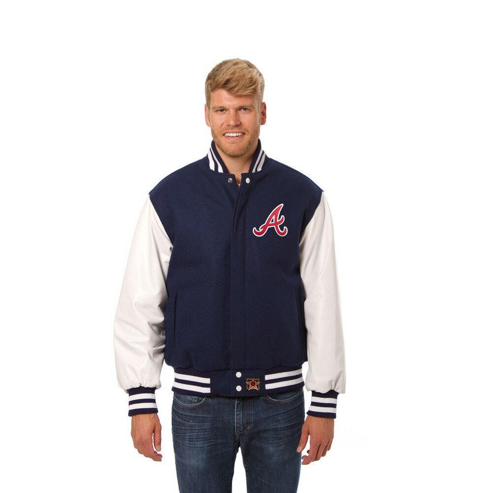 JH デザイン JH Design メンズ アウター レザージャケット【Atlanta Braves Adult Wool Leather Jacket】Blue/White